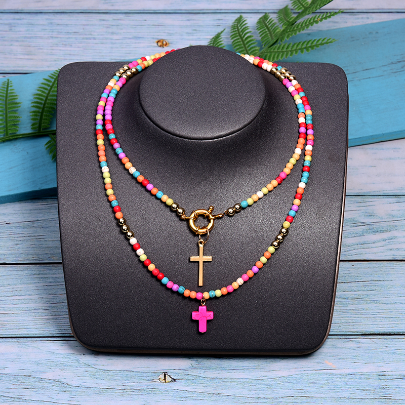 MOON GIRL 85cm Long Cross Pendant Necklace for Women Fashion Colour Beads Boho Double Layer Statement Femme Choker Dropshipping