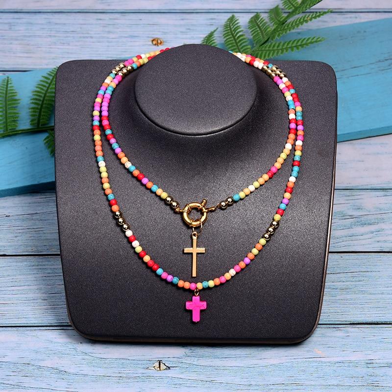 MOON GIRL 85cm Long Cross Pendant Necklace for Women Fashion Colour Beads Boho Double Layer Statement Femme Choker Dropshipping