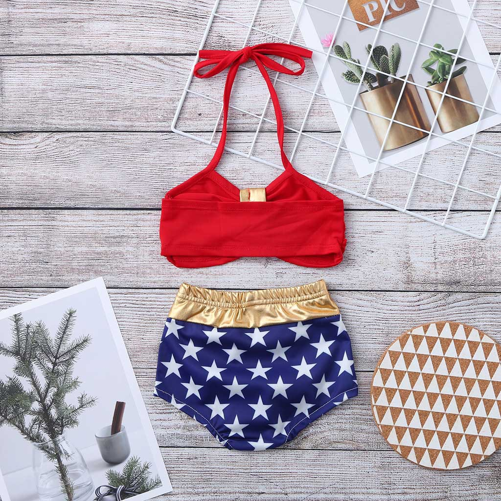2019 New Style Europe And America Bathing Suit Girl's Bikini Two-piece Swimsuits Children Camisole Beach Bathing Suit