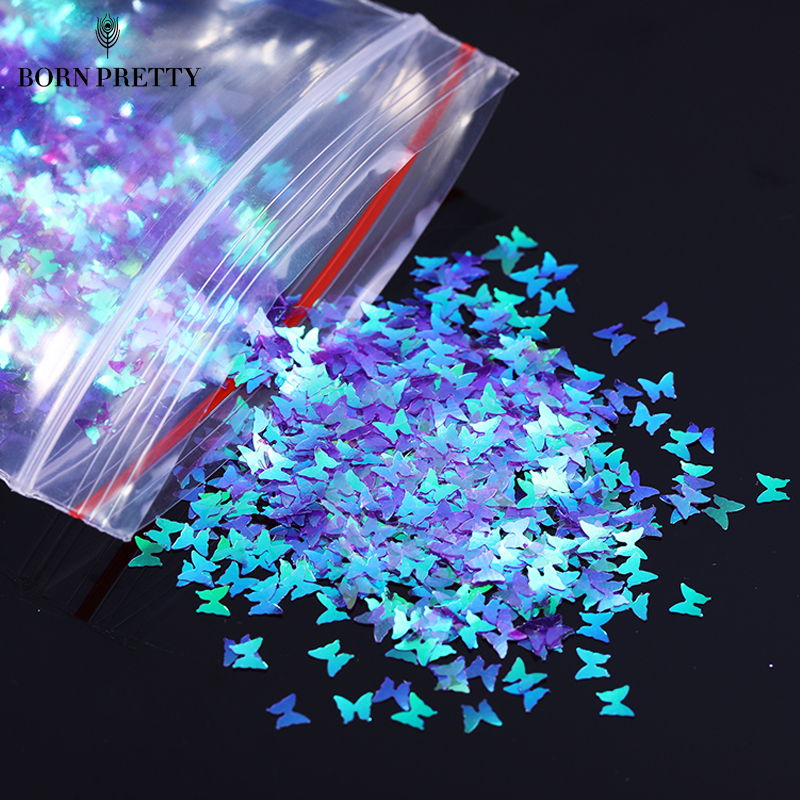 1 Bag Sparkly Butterfly Nail Sequins Paillette Mixed Colors Nail Holographics Glitter 3D Flakes Slices Nails Accessories