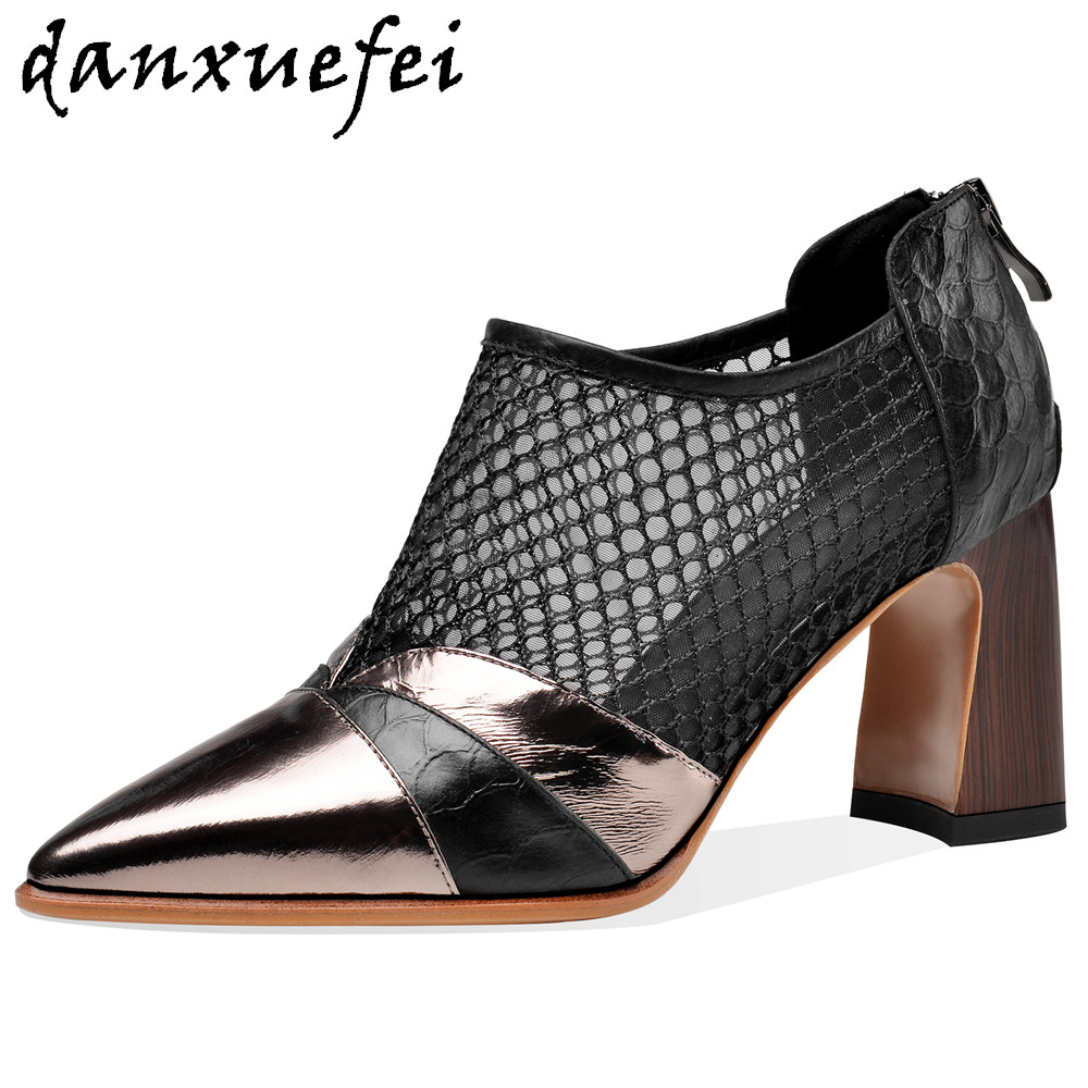 Women's genuine leather mesh patchwork thick high heel spring autumn pumps high top elegant ladies slim breath pointed toe shoes