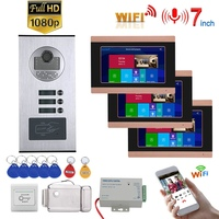 7inch Record Wired Wifi Video Intercom 3 Apartments Doorphone System with RFID 1080P Doorbell Camera+ Electric Strike Lock