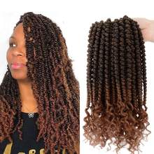 Spring Twist Crochet Hair Curly End Havana Mambo Senegalese Twist Crochet Braids Synthetic Braiding Hair Extension Women's Hair(China)