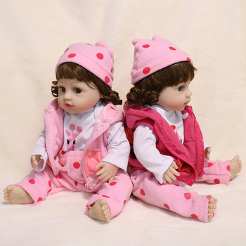 45CM Full Body Silicone Baby Dolls Toy Reborn Toddler Lifelike Dolls With Pink Clothes For Girls Bebe Reborn Doll SIlicone Toys