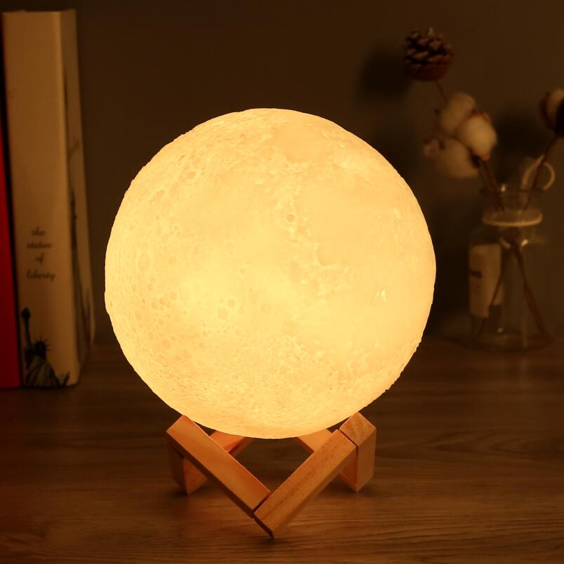 16 Colors 3D Print Rechargeable Moon Lamp LED Remote Night Light Touch Switch Moon Light For Bedroom Decoration Christmas Gift
