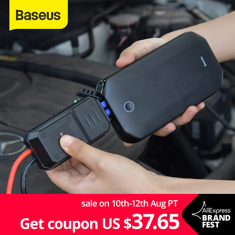 BaseusรถJump Starterแบตเตอรี่Power Bankแบบพกพา 12V 800Aฉุกเฉินแบตเตอรี่Boosterสำหรับ 4.0LรถStarter