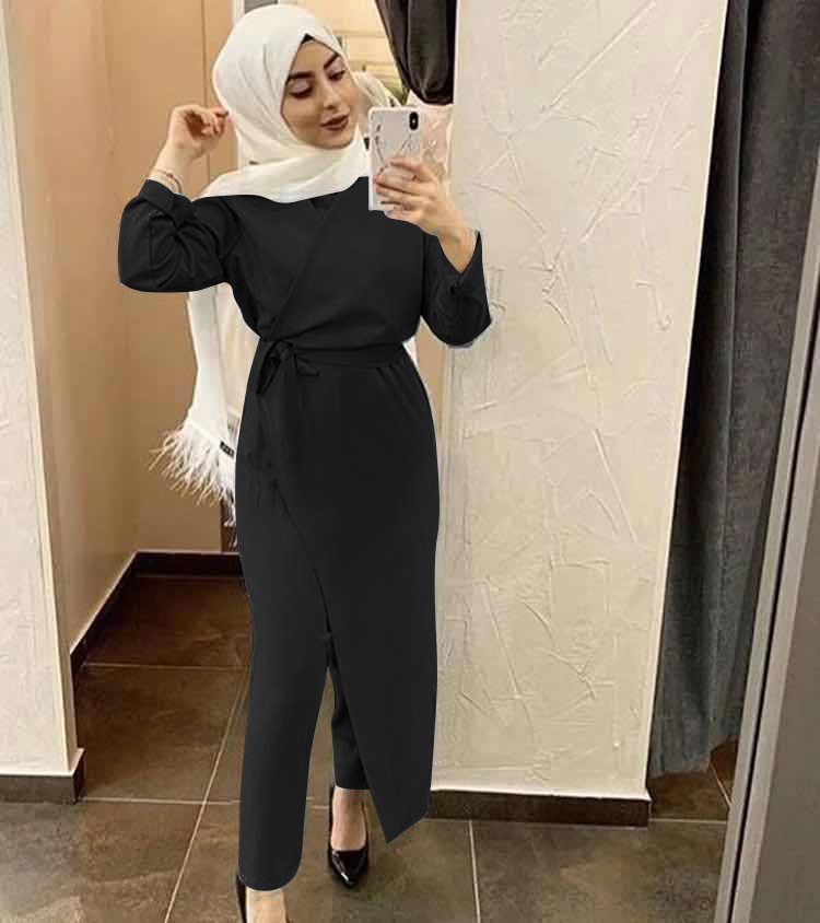 Abayas for Women Dubai Abaya Turkey Muslim Set Jumpsuit Outwear Hijab Wrap Dress Robe Longue Femme Kaftan Islamic Clothing Jurk