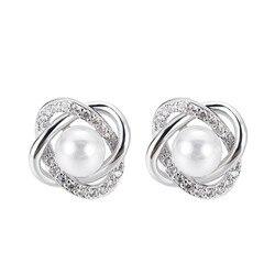 GU-123, модные серьги-гвоздики с кристаллами и жемчужинами для женщин, свадебные ювелирные изделия, свадебные аксессуары, женские серьги