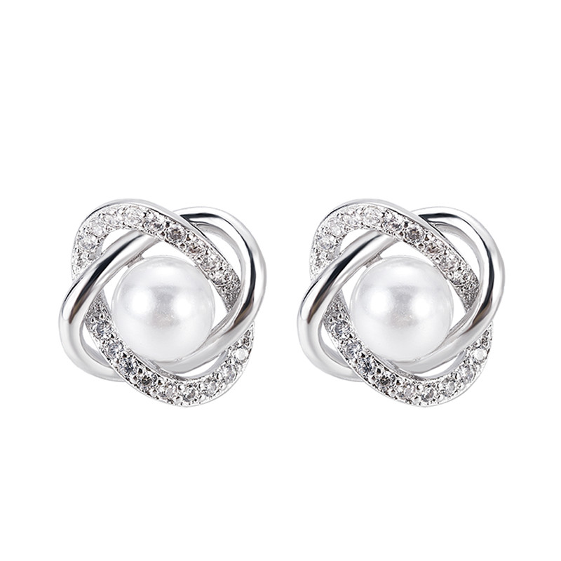 GU-123 Fashion Plated Crystal Star Pearl Ear Stud Earrings For Women Wedding Jewelry Bridal Accessories Boucle D'oreille Femmer