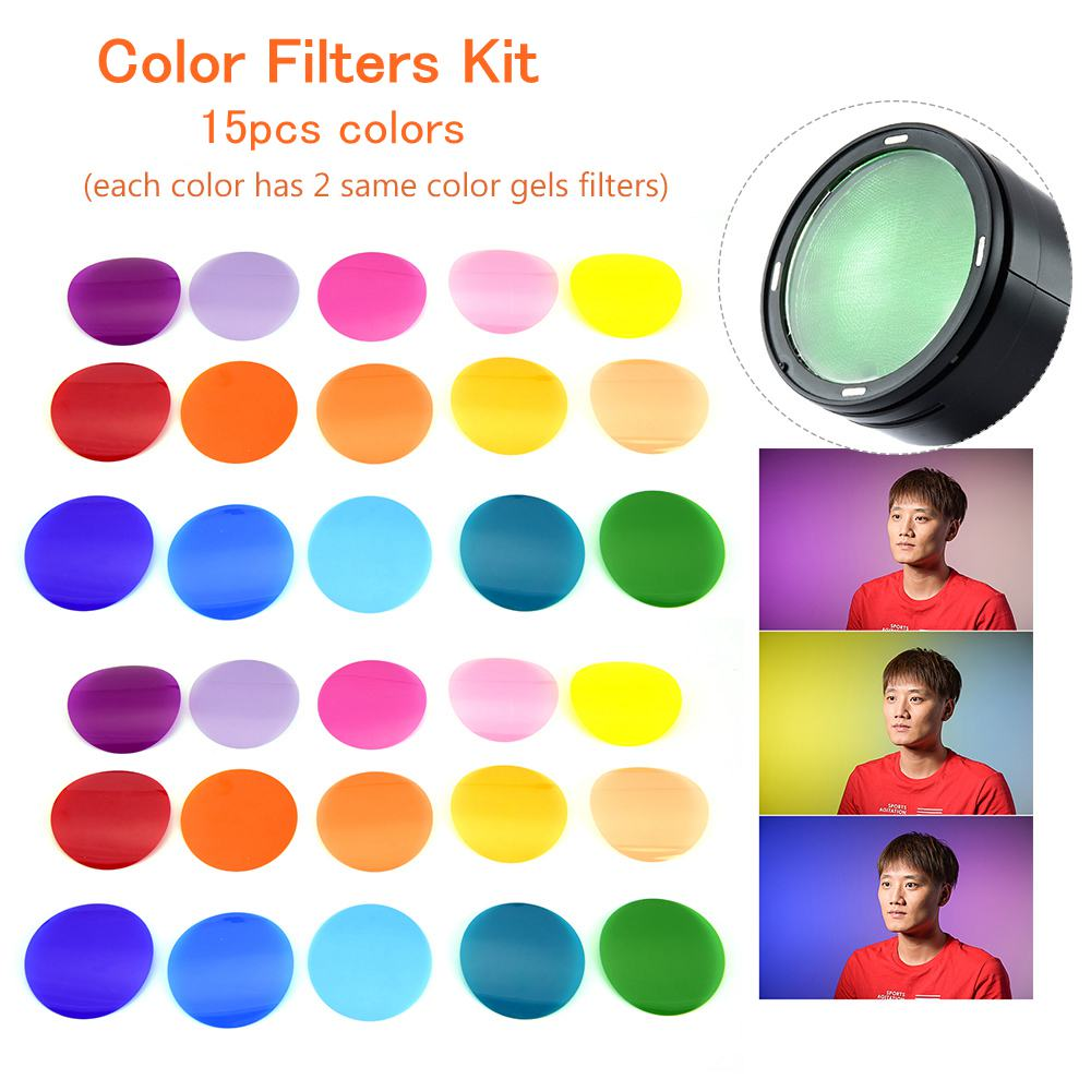 Godox V-11C Color Filters Kit In Camera Filters Camera Round Head Flashes 15 Different Colors * 2 For Godox V1 Series Accessory