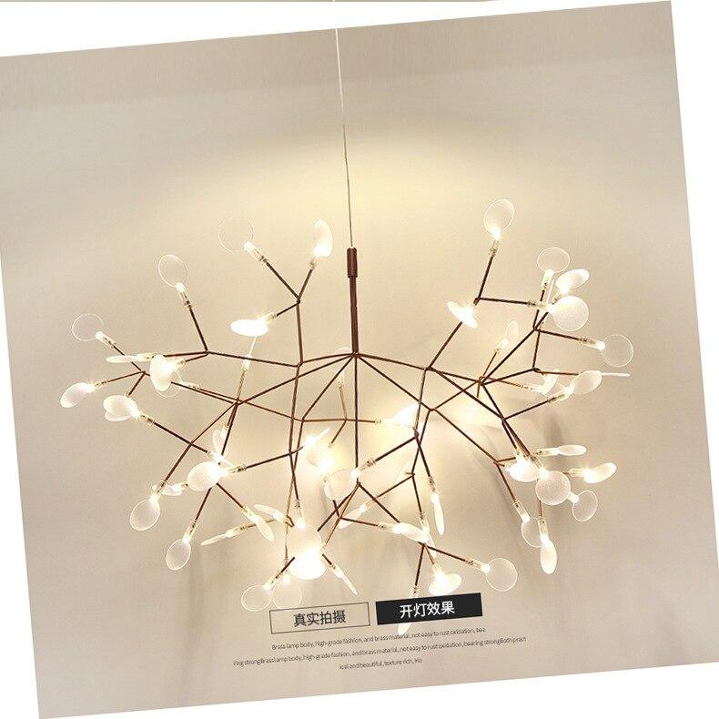 Nordic Postmodern Led Fireflies Droplight Artistic Personality Villa Restaurant Branch Leaves Droplight Sitting Room
