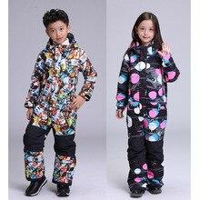 Зимний костюм для мальчиков и девочек; Детский комбинезон; одежда для катания на лыжах и сноуборде; ветрозащитная и Водонепроницаемая дышащая зимняя спортивная одежда