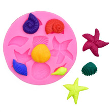 Conch Starfish Shell Silicone Mould Fondant Chocolate Cake Decorating Mould DIY Baking silicone molds  fondant molds premier housewares 6 starfish cake pop silicone mould red