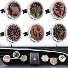New Wooden Car Air Diffuser Locket Silver Stainless Steel Vent Freshener Car Essential Oil Diffuser Perfume Aromatherapy Pendant new 12 constellations stainless steel car air freshener diffuser perfume locket pendant necklace zodiac jewelry dropshipping