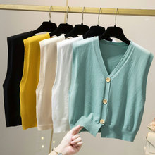 Autumn Korean Style Short Sweater Vest Women Sleeveless V Neck Knitted Solid Single Breasted Cardigan Japan Loose Female Clothes