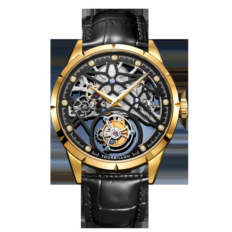 جديد ساعة رجالية فاخرة الجوف الوجهين منظور توربيون التلقائي الميكانيكية العسكرية الطيار ساعة الرياضة رجال الأعمال