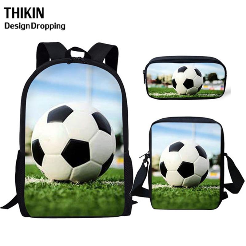 THIKIN 3PCS Causal Kids School Bag Set Soccer Football 3D Printing Boy Girl Teenagers Men Student Backpack Women Bagpack Mochila