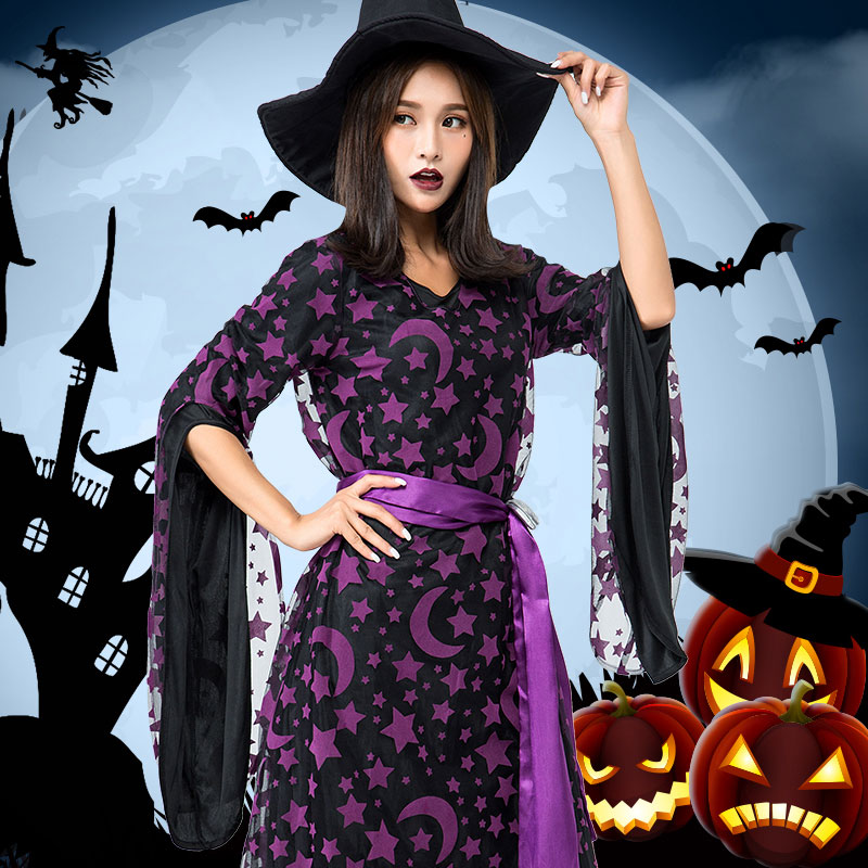 Halloween Costume For Women Bar Role Playing Cosplay Dresses Purple Witch Dresses Black Women's Rave Wear Festival Outfit BL2781
