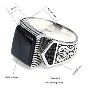 Image 5 - Гарантированные мужские серебряные кольца s925, антикварные турецкие кольца для мужчин, вывеска, кольцо с квадратным камнем цвета, турецкие ювелирные изделия Anello Uomo
