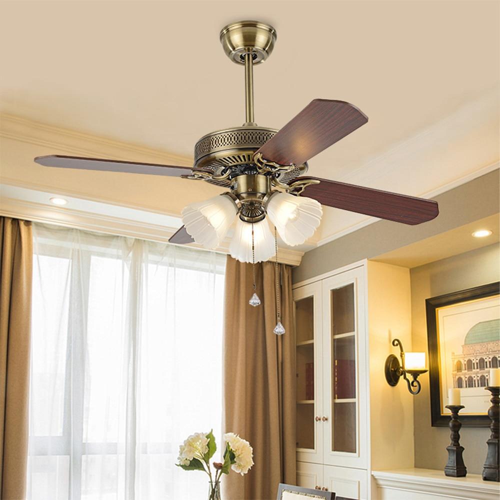 110V 42 Inch American Vintage Ceiling Fan With Lights Remote Control 220v Ventilador De Techo Bedroom Light Lamp E27 Bulbs