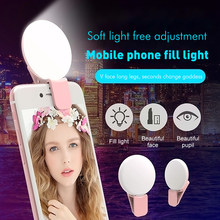 Mobile Phone LED Selfie Ring Light Portable Circle Photography Clip Light Beauty Fill Lamp for Cell Phone Camera Rechargeable(China)