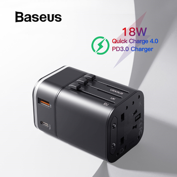 Baseus 18W Travel EU USB Charger Quick Charge 3.0 for Samsung Phone Charger USB-C PD 3.0 Fast Charger for iPhone 11 Pro