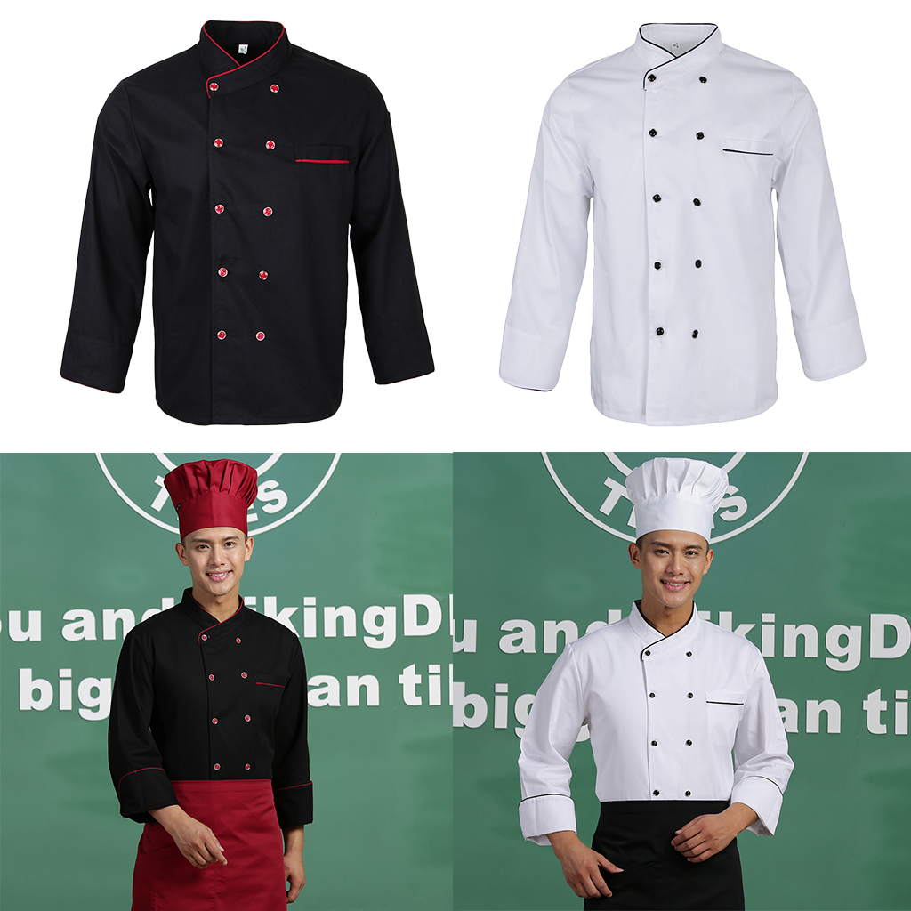 Unisex Long Sleeve Chef Coat Working Clothes For Kitchen Hotel Bakery Work Wear