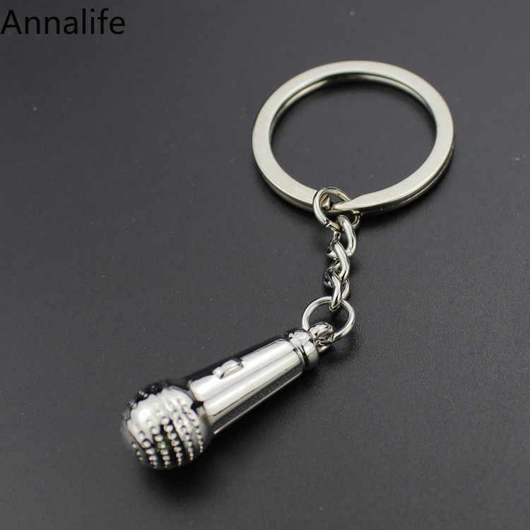 2019 جديد ميدالية مفاتيح معدنية الإبداعية الموسيقى الهدايا مفتاح ميدالية مفاتيح ذات حلقة ميكروفون المفاتيح مفتاح سلسلة الموضة الإبداعية