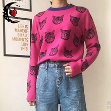 2020 Autumn Winter Warm Women Sweater Harajuku Gothic Cute Cat Jacquard Knitted Tops Female Casual Pullover Fashion Streetwear(China)