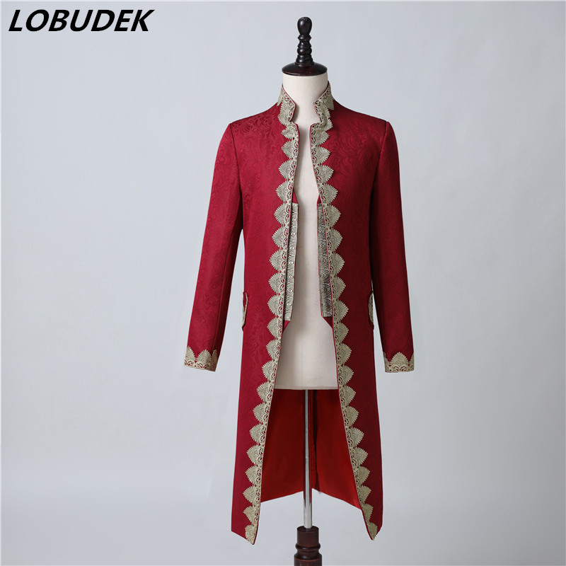 British Style Court Dress Men's Vintage Wine Red Embroidery Jacquard Blazer Long Coat Evening Party Singer Host Show Costume