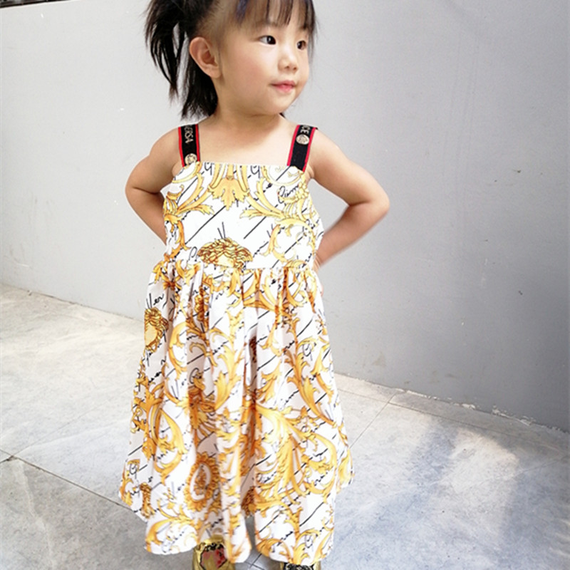High-end New Summer Girl Dresses, Fashion Party Children's Dresses,Long Dress With Suspenders