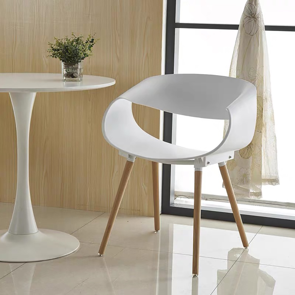 2 Pcs Dining Plastic Chair Set Scandinavian Fashionable Modern Plastic Chair, Solid Wood Chair, Coffee Chair