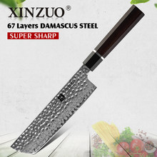 XINZUO 7'' Kitchen Nakiri Knife Damascus Steel 60±2 HRC Razor Sharp Butcher Meat Cleaver Vegetable Stainless Steel Cooking Tools(China)