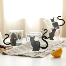 Lovely Cat Glass Cup Creative Cat Cup Cartoon Water Cup with Handle Couple Glass Juice Cup for Fruit Juice Office Coffee Mugs embossed peach heart glass japanese cherry petal water cup loving milk water cup fruit juice cold drink transparent coffee cup