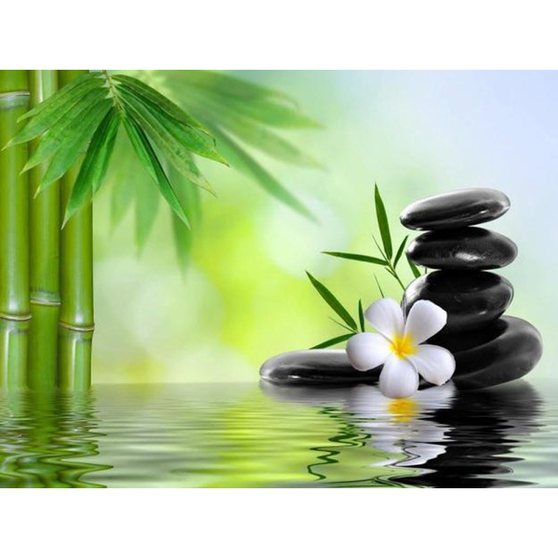 5D DIY Diamond Painting zen Embroidery Full round Diamond Cross Stitch bamboo Rhinestone Mosaic Painting flower Decor-0