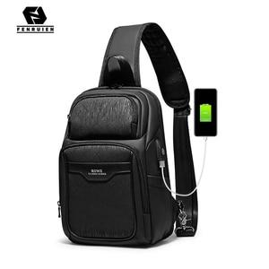 Image 1 - Fenruien 2020 nuevas bolsas de mensajero de hombro multifunción carga USB impermeable bolsos cruzados para hombre bolsa de pecho de viaje corto paquete