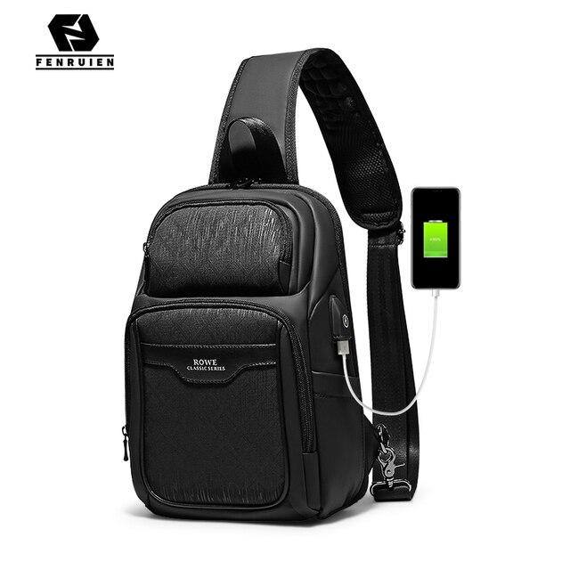 Fenruien 2020 nuevas bolsas de mensajero de hombro multifunción carga USB impermeable bolsos cruzados para hombre bolsa de pecho de viaje corto paquete