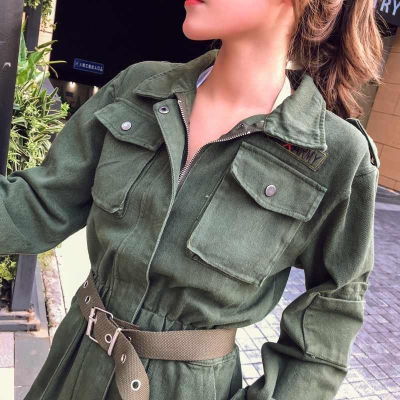 Frauen Denim Strampler Grün Koreanische Langarm Overalls Vintage Casual Schärpen Schlank Knöchel-Länge Jeans Overall Damen Cargo Hosen