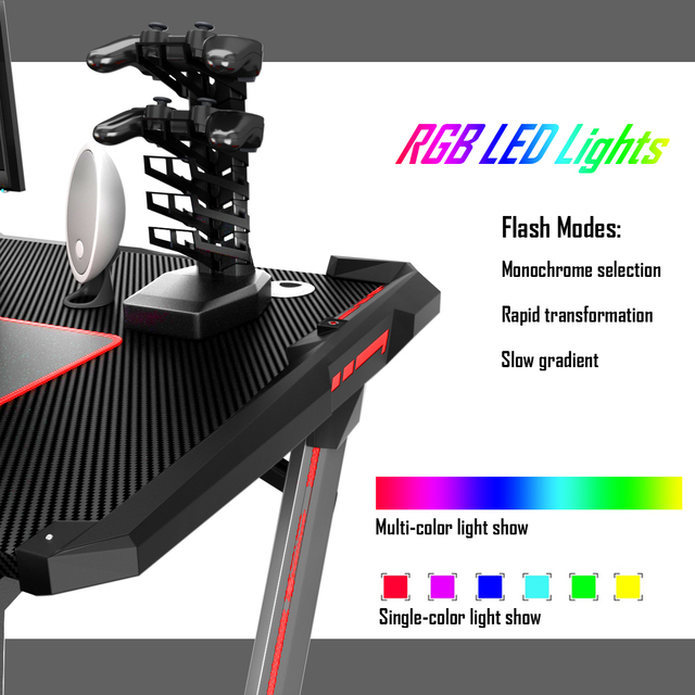 Costway Z-Shaped Gaming Computer Desk RGB LED Lights w/USB Handle Rack & Large Mouse Pad 5