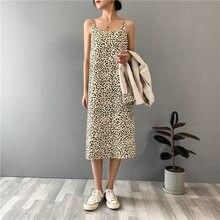2021 moda feminina verão leopardo imprimir vestido longo vestidos sem mangas feminino elegante vestido de alta qualidade