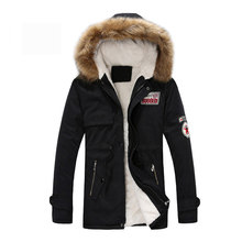 Parka Männer Mäntel Winter Jacke Männer Schlank Verdicken Fell Kapuze Outwear Warme Mantel Top Marke Kleidung Casual Herren Mantel Veste homme Tops(China)