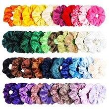 Scrunchie Pack Headwear 50 Pcs Simple Sweet Velvet Elastic Hair Bands Women Or Girls Hair Accessories резинки для волос повязка