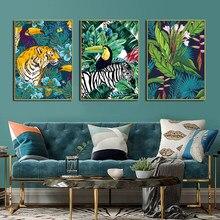 Toucan flamingo tigre floresta animais arte da parede pintura em tela nordic cartaz e cópias sala de estar imagem parede decoração para casa