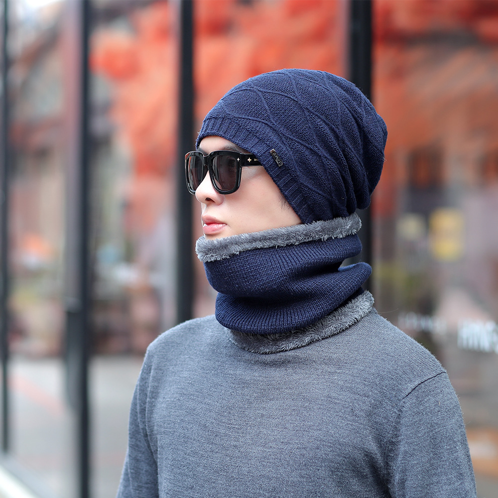 Autumn & Winter Wool Hat Men's Brushed And Thick Knitted Hat Warm Set Of Head Cap Cycling Windproof Scarf Two-Piece Set Cap