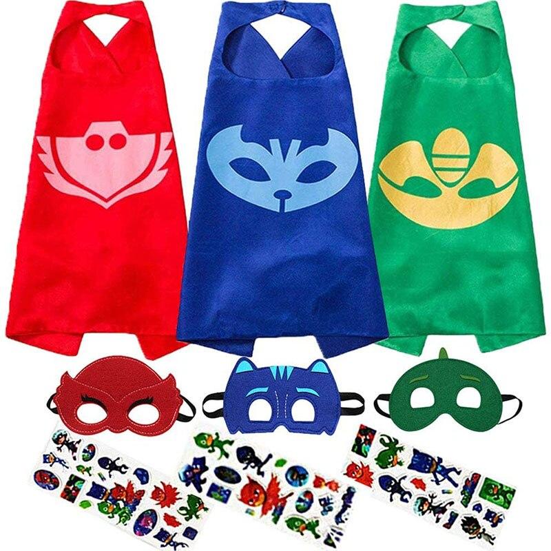 PJ Masks Costumes Cosplay Dress Up For Kids Compatible Superheroes Catboy Gekko Owlette Children Toys Capes Masks Stickers Sets