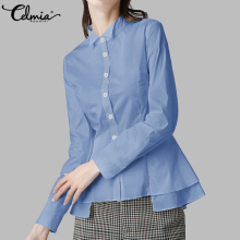 Celmia Ruffles Hem Lapel Shirt Top 2020 Autumn Office Elegant Celmia Long Sleeve Casual Blouse Plus Size Solid Buttons Blusas