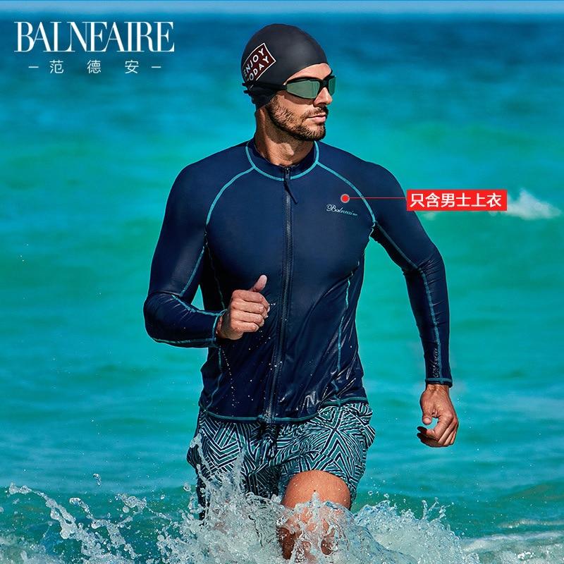 -Style Bathing Suit Fashion Men Long Sleeve Dean Beach Holiday Split Type Sun-resistant Tops Snorkeling Surfing Hot Springs Swim