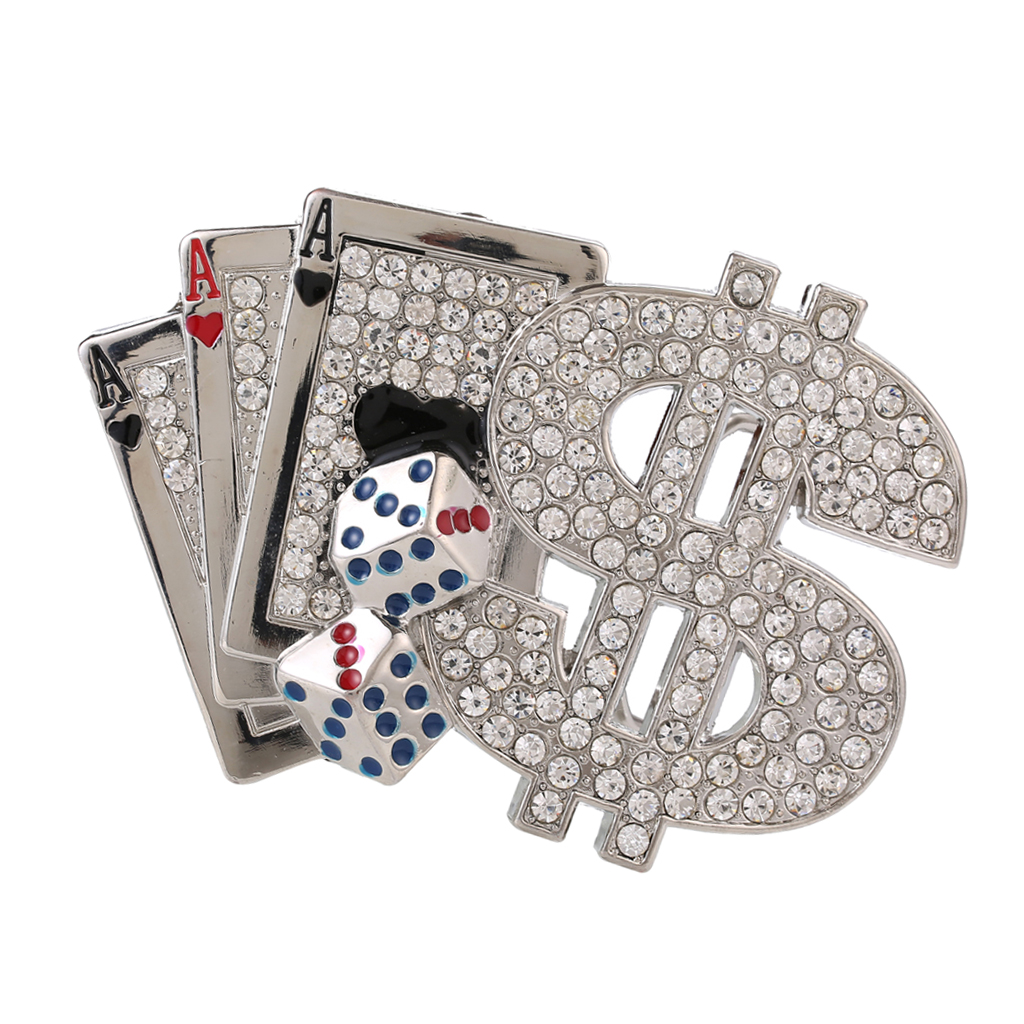 American Style Poker Carved Rhinestones Belt Buckle Hip-Hop Metal Cowboy Jewelry Novelty Man Women Belt Buckle