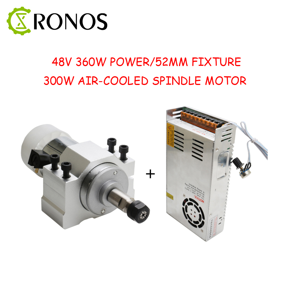 CNC Spindle DC 300W Air Cooled 0.3kw Milling Motor & Spindle Speed Power Converter & 52mm Clamp &13pcs ER11 Collet For Engraving