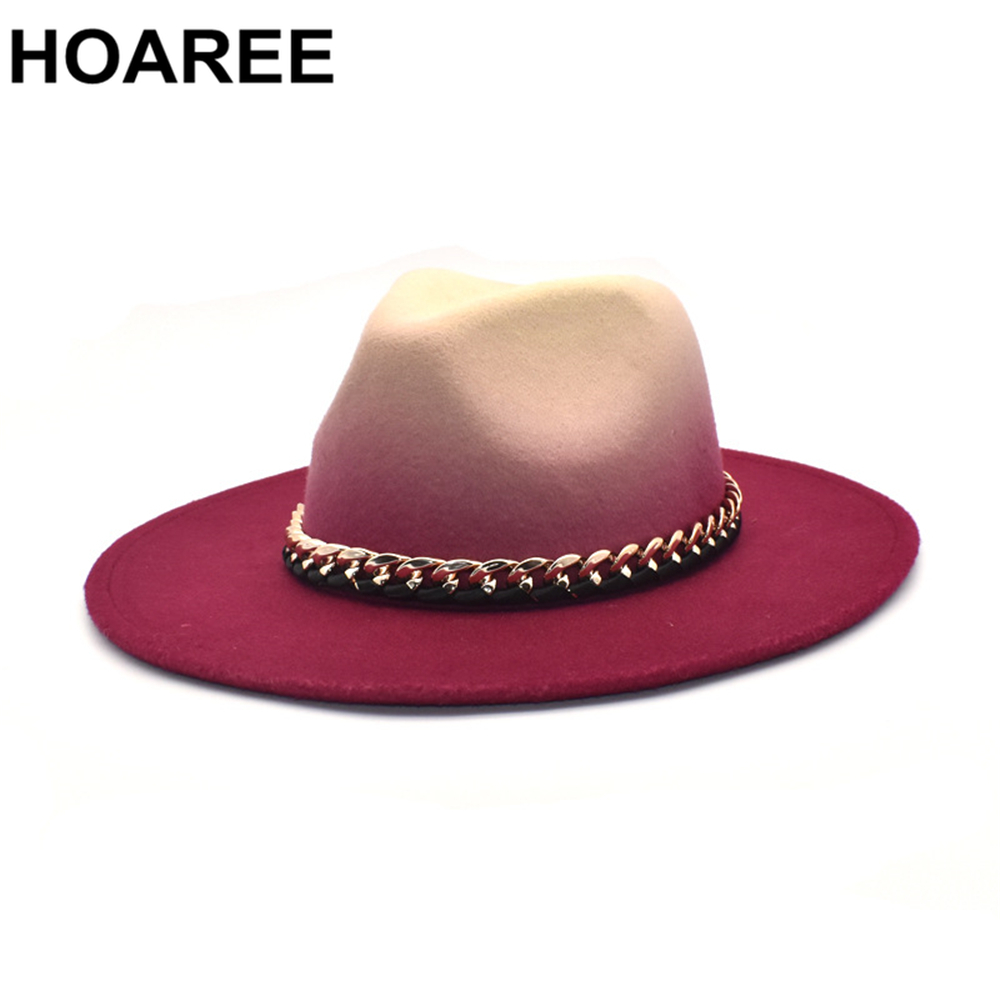 Felt Caps Wide Brim Hats for Women Men Gradient Color Winter Autumn Imitation Woolen Ladies Fedoras Top Hat Red Green Blue